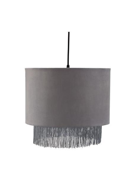 Hanglamp Noble Reverie met fluwelen lampenkap, Lampenkap: fluweel, Baldakijn: kunststof, Grijs, Ø 38 x H 33 cm