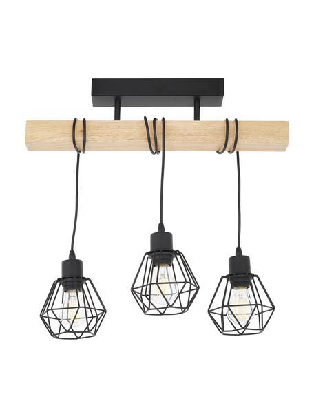 Plafondlamp Townshend van hout, Baldakijn: gelakt staal, Zwart, houtkleurig, 55 x 36 cm