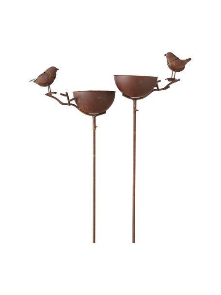 Set 2 vasche per uccelli Loki, Metallo rivestito, Marrone, Larg. 28 x Alt. 117 cm