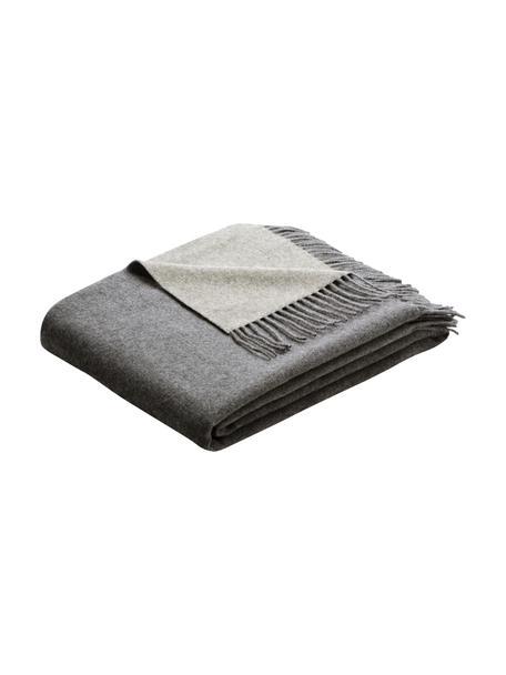 Kasjmieren plaid Liliana in grijs/lichtgrijs, 80%wol, 20%kasjmier, Grijs, 130 x 170 cm
