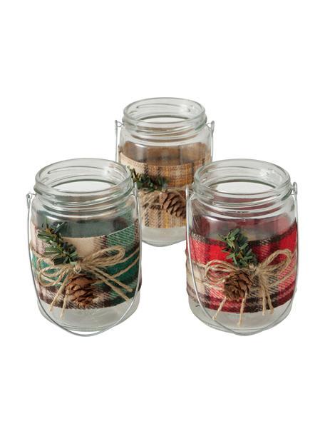 Teelichthalter-Set Niara, 3-tlg., Bezug: Polyester, Griff: Metall, Mehrfarbig, Ø 7 x H 11 cm