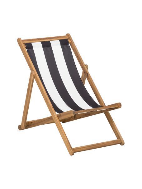 Sedia a sdraio pieghevole Zoe, Struttura: legno di acacia oliato, Bianco, blu, Larg. 59 x Prof. 84 cm