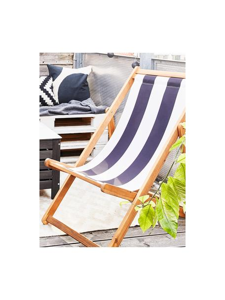Tumbona plegable Zoe, Asiento: 100%poliéster, Estructura: madera de acacia aceitada, Blanco, azul, An 59 x F 91 cm