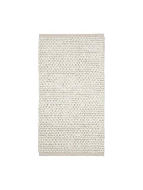 Wollen vloerkleed Pebble in crèmewit, 80% Nieuw-Zeelandse wol, 20% nylon, Wit, B 80 x L 150 cm (maat XS)