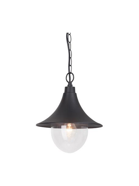Lampada a sospensione da esterno Berna, Paralume: alluminio verniciato a po, Nero, trasparente, Ø 26 x Alt. 91 cm