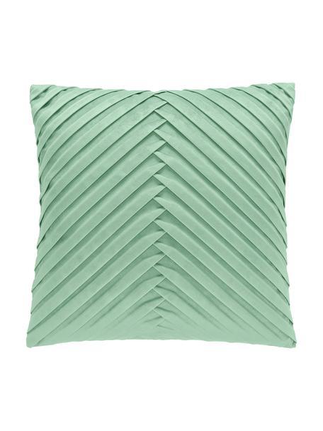 Poszewka na poduszkę z aksamitu Lucie, 100% aksamit (poliester) Należy pamiętać, że aksamit może wydawać się jaśniejszy lub ciemniejszy w zależności od kąta padania światła, Szałwiowy zielony, S 45 x D 45 cm