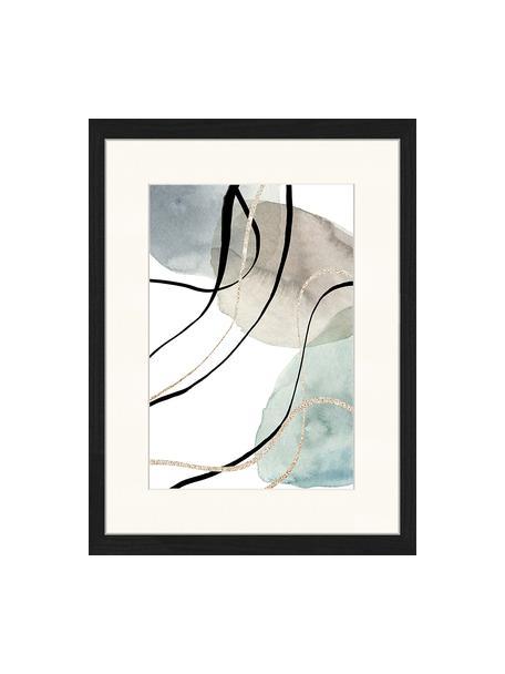 Ingelijste digitale print Geometric Poster, Afbeelding: digitale print op papier,, Lijst: gelakt hout, Multicolour, 33 x 43 cm