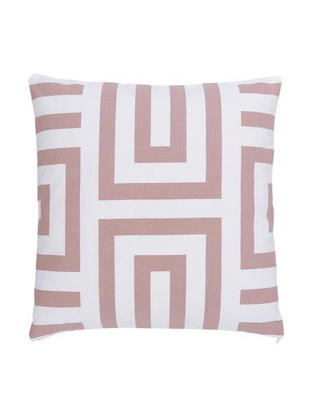 Poszewka na poduszkę Bram, 100% bawełna, Biały, brudny różowy, S 45 x D 45 cm