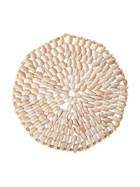 Mantel individual de conchas Subbi, Concha, shell, fuente, cuenco, Beige, blanco, Ø 20 cm