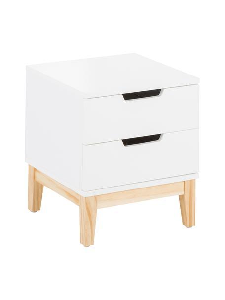 Nachttisch Buca mit Schubladen, Beine: Eichenholz, Beine: Eiche Korpus und Fronten: Weiß, matt, 40 x 45 cm