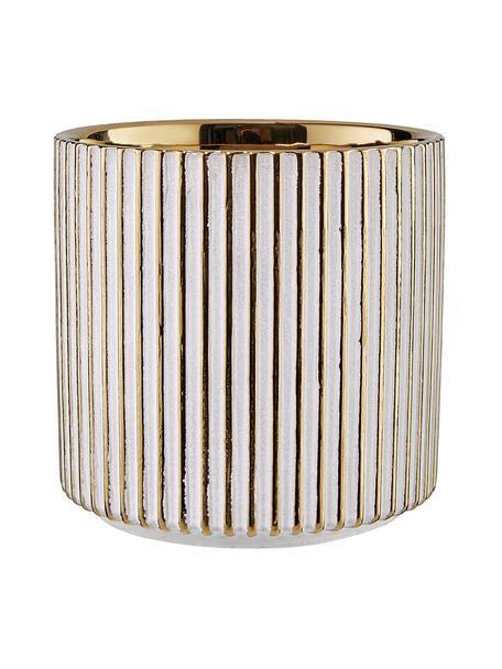 Osłonka na doniczkę z kamionki Goldie, Odcienie złotego, biały, Ø 12 x W 12 cm