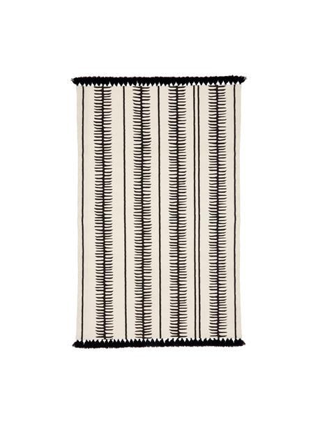 Alfombra artesanal de algodón con borlas Rita, Beige, negro, An 50 x L 80 cm(Tamaño XXS)