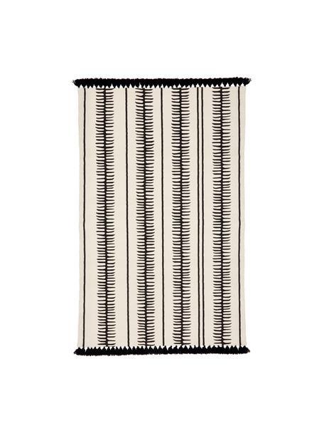 Tappeto in cotone beige/nero tessuto a mano con nappe Rita, Beige, nero, Larg. 50 x Lung. 80 cm (taglia XXS)