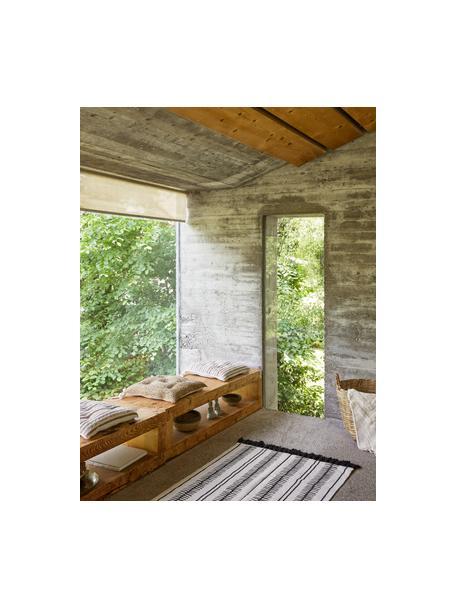 Handgewebter Baumwollteppich Rita in Beige/Schwarz mit dekorativen Quasten, Beige, Schwarz, B 50 x L 80 cm (Grösse XXS)