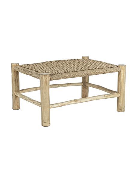 Mesa de centro de madera de teca Lampok, Estructura: teca, Asiento: fibra sintética, Beige, An 80 x Al 40 cm