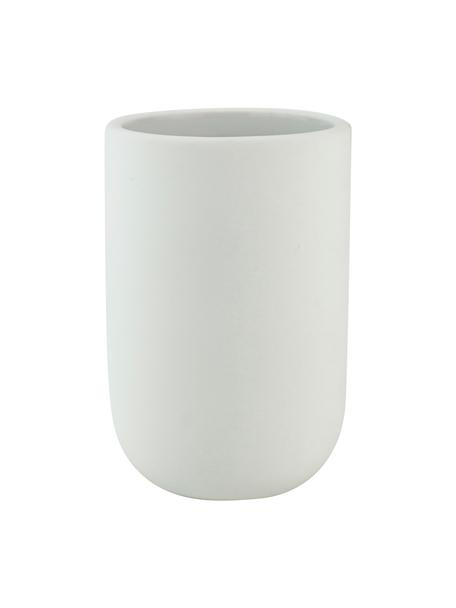 Keramik-Zahnputzbecher Lotus, Keramik, Weiß, Ø 7 x H 10 cm