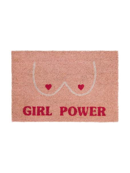 Felpudo Girl Power, Parte superior: fibras de coco, Reverso: PVC, Rosa, rojo, beige, An 40 x L 60 cm