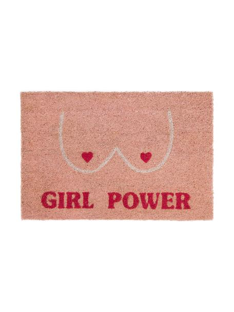 Zerbino in cocco Girl Power, Rosa, rosso, beige, Larg. 40 x Lung. 60 cm