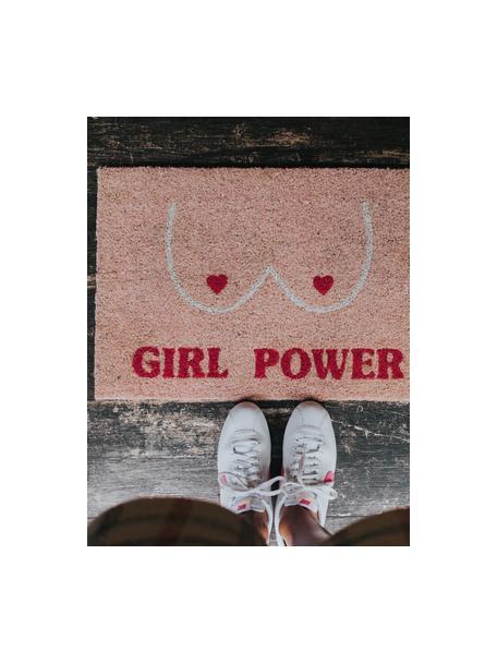 Fußmatte Girl Power, Oberseite: Kokosfaser, Unterseite: PVC, Rosa, Rot, Beige, 40 x 60 cm