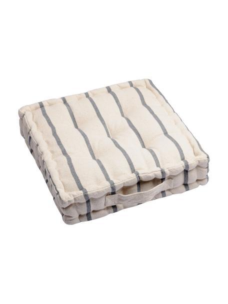 Klein vloerkussen Pampelonne, Antraciet, gebroken wit, 45 x 10 cm