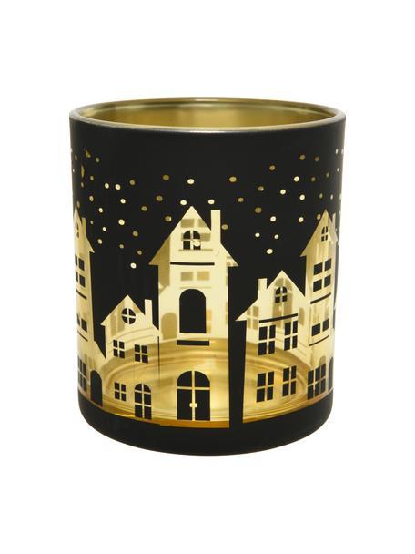 Teelichthalter City, Glas, Schwarz, Goldfarben, Ø 7 x H 9 cm