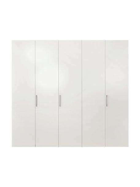 Kleiderschrank Madison in Weiß, 5-türig, Korpus: Holzwerkstoffplatten, lac, Ohne Spiegeltür, 252 x 230 cm