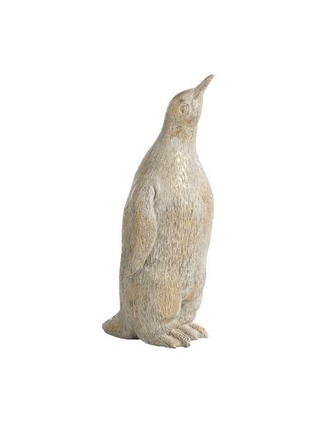 Handgefertigtes Deko-Objekt Penguin H 21 cm, Kunststoff, Beige, 9 x 21 cm