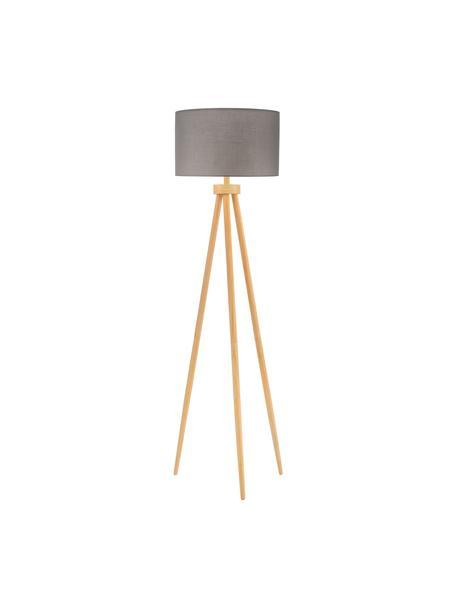 Tripod vloerlamp Grand Coziness met houten voet, Lampenkap: stof, Lampvoet: hout, Grijs, houtkleurig, Ø 51 x H 147 cm