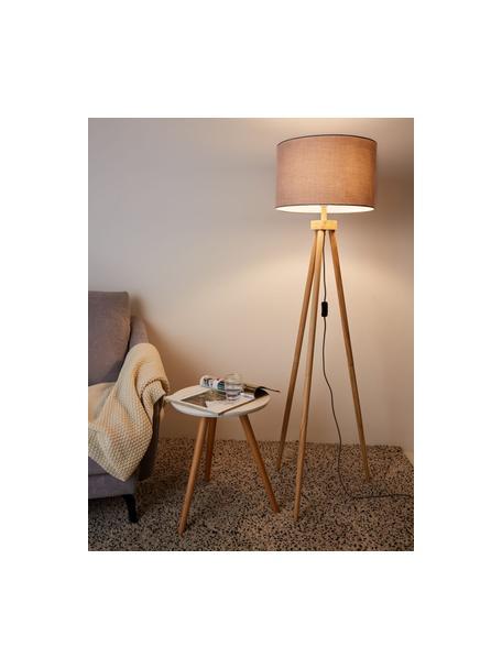Tripod Stehlampe Grand Coziness mit Holzfuß, Lampenschirm: Stoff, Lampenfuß: Holz, Grau, Holz, Ø 51 x H 147 cm