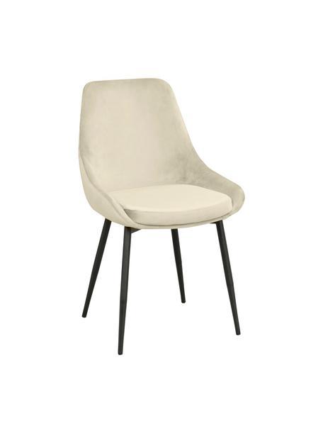 Fluwelen stoelen Sierra in beige, 2 stuks, Bekleding: polyester fluweel, Poten: gelakt metaal, Fluweel beige, B 49  x D 55 cm