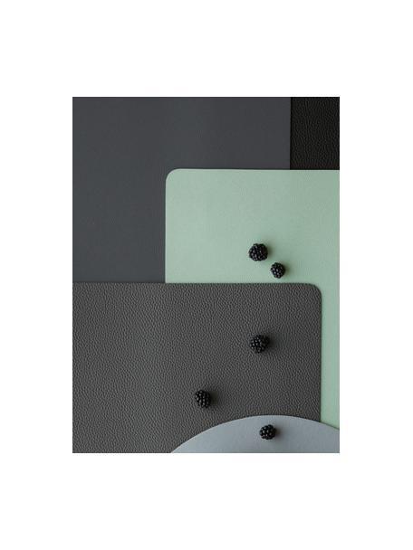 Manteles individuales de cuero sintético Pik, 2uds., Cuero sintético (PVC), Gris antracita, An 33 x L 46 cm