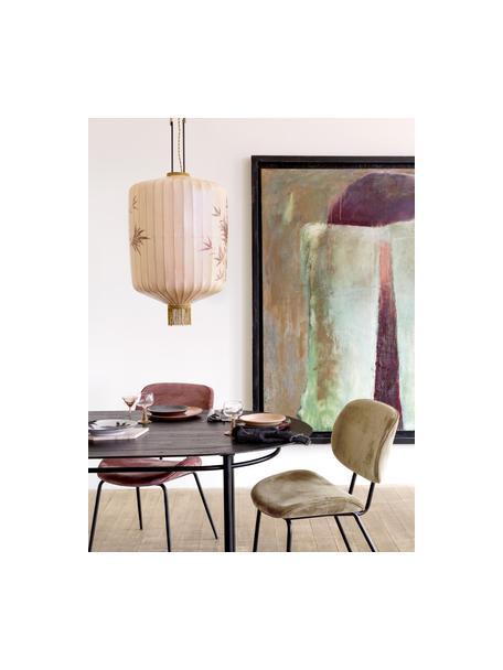 Tavolo ovale con piano in legno massiccio Ringding, Gambe: metallo rivestito, Nero, Larg. 200 x Prof. 100 cm