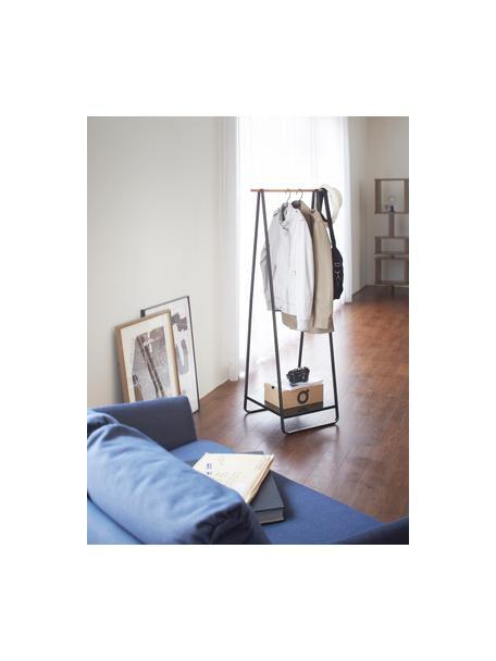 Metalen kledingstang Tower, Frame: gepoedercoat metaal, Zwart, houtkleurig, 52 x 140 cm