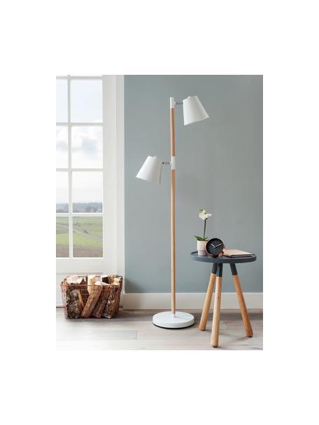Skandi leeslamp Rubi, Lampenkap: gecoat metaal, Frame: hout, Lampvoet: gecoat metaal, Wit, Ø 18 x H 150 cm