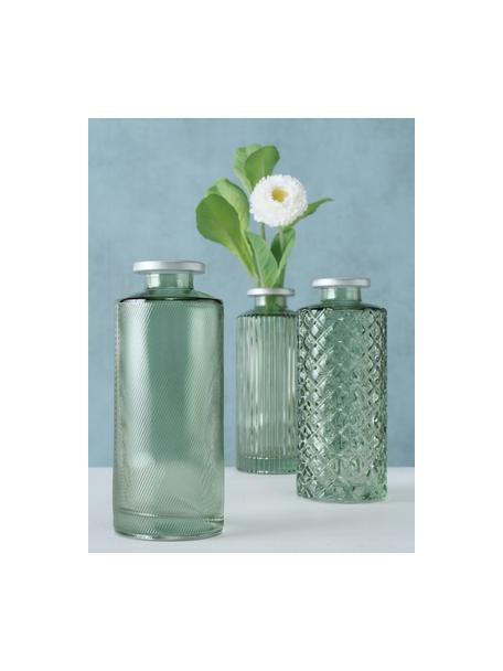 Komplet małych wazonów ze szkła Adore, 3 elem., Szkło barwione, Zielony, Ø 5 x W 13 cm