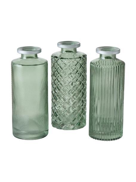 Set 3 vasi in vetro Adore, Vetro colorato, Verde, Ø 5 x Alt. 13 cm