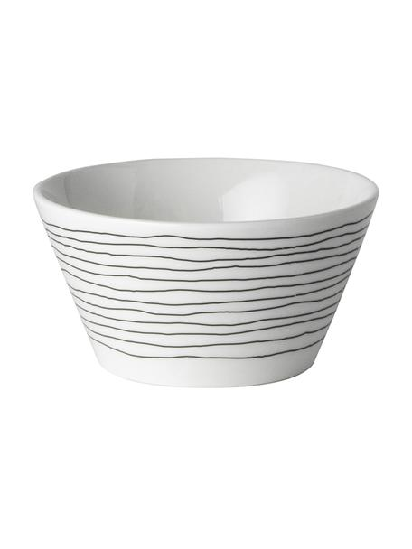 Ciotola con decoro a righe Eris Loft 4 pz, Porcellana, Bianco, nero, Ø 10 x Alt. 6 cm