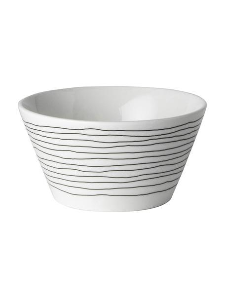 Schälchen Eris Loft mit Liniendekor, 4 Stück, Porzellan, Weiß, Schwarz, Ø 10 x H 6 cm