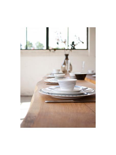 Ste van 4 kommen Eris Loft met lijnversiering, Porselein, Wit, zwart, Ø 10 x H 6 cm