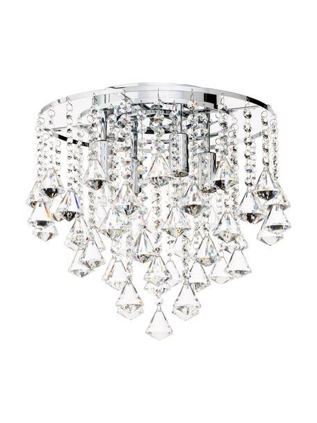 Lámpara araña de cristales Dorchester, Anclaje: metal, cromado, Transparente, cromo, Ø 40 x Al 36 cm