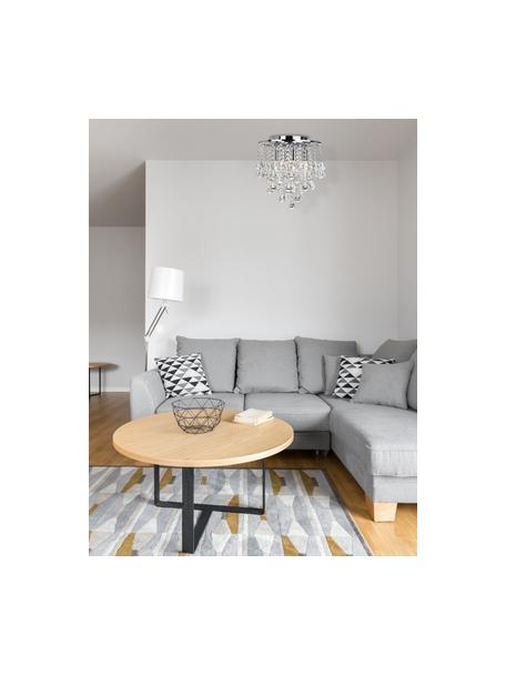 Kristalglazen plafondlamp Dorchester, Baldakijn: verchroomd metaal, Decoratie: glas, Transparant, chroomkleurig, Ø 40 x H 36 cm