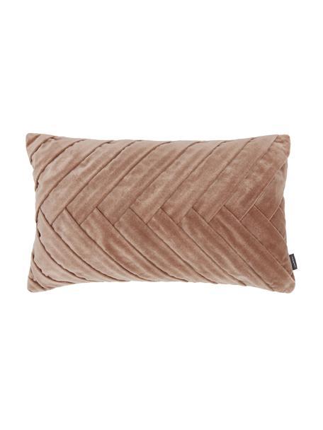 Cuscino in velluto con superfice strutturata Folded, Rivestimento: 100% velluto di cotone, Rosa, Larg. 30 x Lung. 50 cm