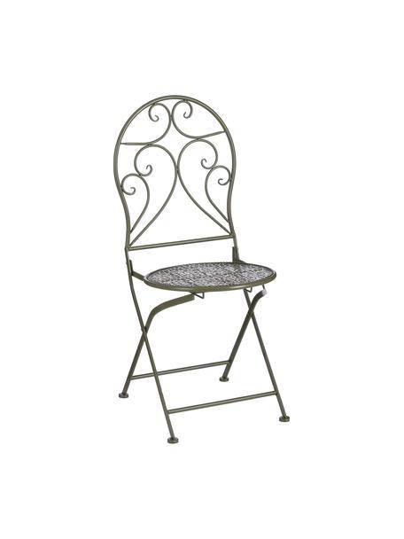 Składane krzesło balkonowe Ninet, 2 szt., Metal powlekany, Zielony, S 40 x W 92 cm
