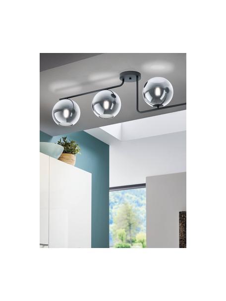 Plafondlamp Marojales, Lampenkap: glas, Zwart, grijs, transparant, 122 x 28 cm