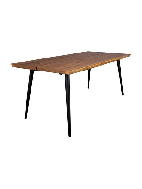 Esstisch Alagon mit Baumkanten-Design, Tischplatte: Mitteldichte Holzfaserpla, Beine: Stahl, pulverbeschichtet, Walnuss, B 160 x T 90 cm