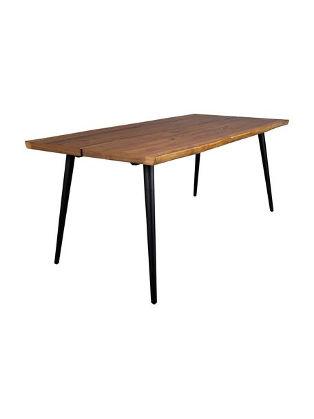 Tavolo con design bordo albero Alagon, Gambe: acciaio verniciato a polv, Noce, Larg. 160 x Prof. 90 cm