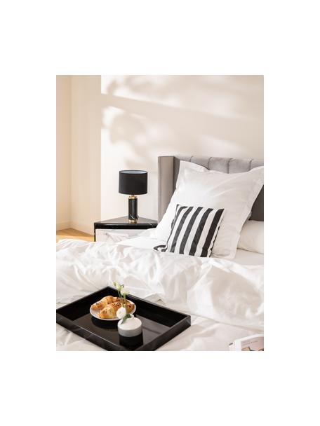 Lampada da tavolo con base in marmo Miranda, Paralume: tessuto, Base della lampada: marmo, ottone spazzolato, Bianco, marmo nero, Ø 28 x Alt. 48 cm