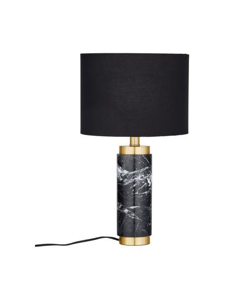 Lampa stołowa z marmurową podstawą w stylu glam Miranda, Biały, czarny marmur, Ø 28 x W 48 cm