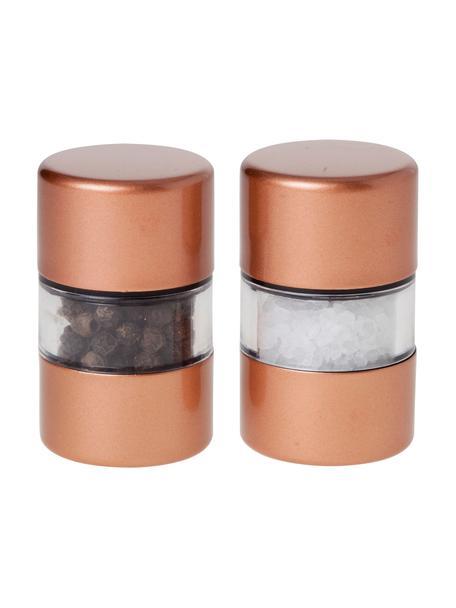 Zout- en pepermolenset Grinder in koper, 2-delig, Edelstaalkleurig, Koperkleurig, transparant, Ø 3 x H 6 cm