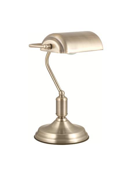 Kleine retro bureaulamp Bank van metaal, Lampenkap: gecoat metaal, Lampvoet: gecoat metaal, Messingkleurig, 22 x 34 cm